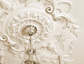 Ceiling moldings at private clubs